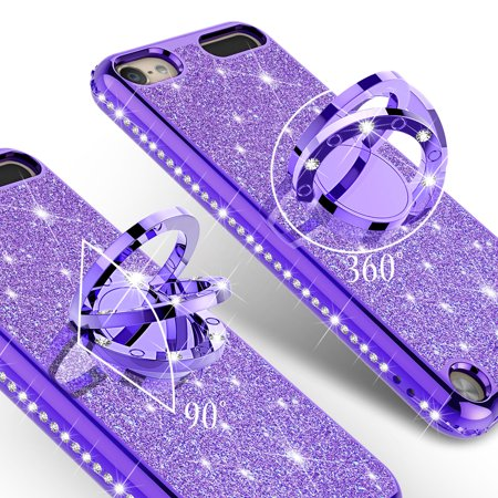 Apple iPod Touch 6 Case, iPod 6/5 Case [Tempered Glass Screen Protector],Glitter Ring Stand Bling Sparkle Diamond Case For Apple iPod Touch 5/6th Generation - Purple - image 2 of 5