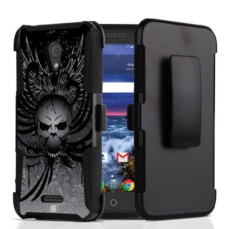 Alcatel Raven LTE | Verso | IdealXCITE | CAMEOX Case - Dual Layer Shockproof Protection [Impact Resistant] Removable Belt Clip Holster Kickstand Cover Case - (Skull Wings) and Atom Cloth