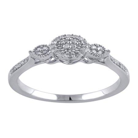 1/10 Carat T.W. Diamond Sterling Silver Promise Ring - Flashing Diamond Ring