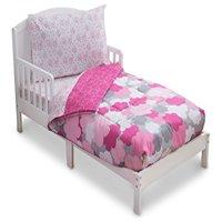 Delta Children Reversible Girls Toddler 4 Piece Bedding Set (Fitted Sheet, Flat Top Sheet w/ Elastic bottom, Fitted Comforter w/ Elastic bottom, Standard Pillowcase) Clouds. Pink, Hot Pink   Grey