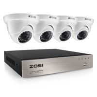 ZOSI 1080p Outdoor Security Camera System, 4 HD Weatherproof Dome Cameras, 4 Channel DVR No Hard Drive