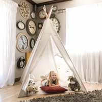 Best Choice Products 6ft White Teepee Tent Kids Indian Canvas Playhouse Sleeping Dome w/ Carrying Bag - White