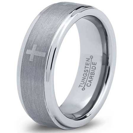 Tungsten Wedding Band Ring 8mm for Men Women Comfort Fit Christian Cross Step Beveled Edge Brushed Lifetime Guarantee Christian Cross Wedding Band