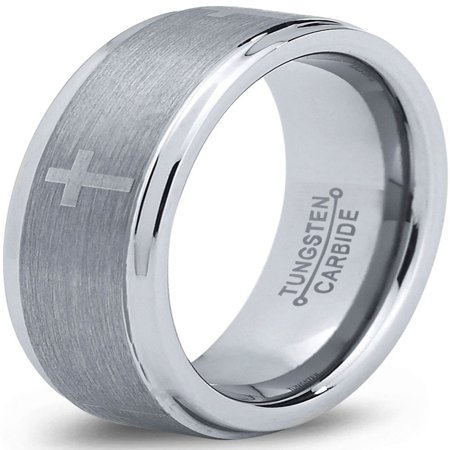 Tungsten Wedding Band Ring 8mm for Men Women Comfort Fit Christian Cross Step Beveled Edge Brushed Lifetime Guarantee