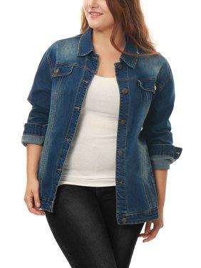Womens Plus Jean Jacket Plus Size Washed Denim Jacket Coat Outerwear