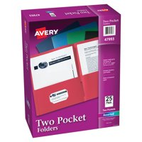 Avery Two-Pocket Folders, 25 Folders Assorted Colors (47993)