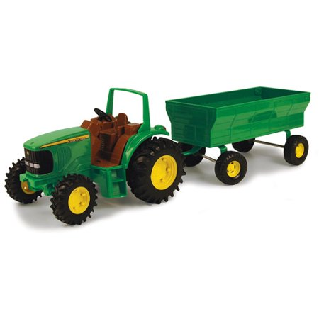 """John Deere Toy Tractor Set, 8"""" Tractor with Flarebox Wagon"""