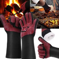 Hot 662?F Heat Proof Resistant Oven Barbecue BBQ Grilling Gloves 35cm Kitchen Cooking Silicone Mitt Long - 1 Pair