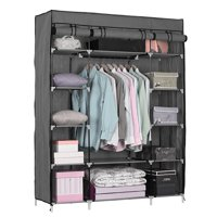 Deals on Zimtown Portable Closet Storage Organizer Wardrobe Clothes Rack