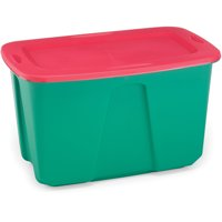 Homz 18 Gallon Green Holiday Storage Tote, Set of 8