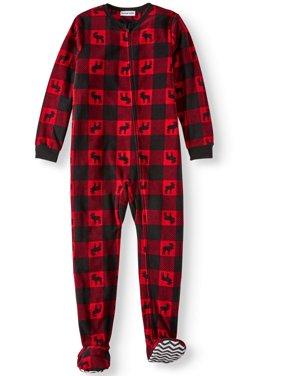 Boys' Buffalo Plaid Moose Footed Pajama Sleeper (Little Boys & Big Boys)