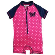9f7210dc4 Baby Girls Butterfly with Polka Dots Swim Once Piece Rashguard