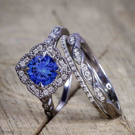 Unique antique 2.50 Carat Real Sapphire and Cubic Trio Wedding Ring Set for Women in Silver with Black Gold Plating](Unique Wedding)