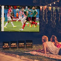 Excelvan Indoor Outdoor Portable Movie Screen 84 Inch 16:9 Home Cinema Projector Screen Roll Easily, PVC Fabric