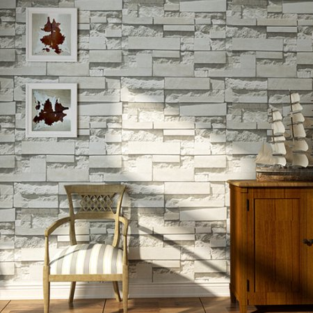 57sq.ft/393.7'' x 21'' Removable Waterproof 3DEmbossed Effect Brick Stone Modern Wall Paper Wall Sticker Wallpaper Roll Vinyl for Restaurant Hotel Living Room TV Background Home (Stone Effect Water)