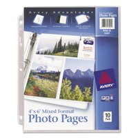 """Avery(R) 4"""" x 6"""" Mixed Format Photo Pages 13401, Acid Free, Pack of 10"""