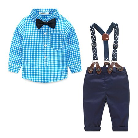 Newborn Toddler Kids Baby Boy Gentleman Suit Bow Tie Plaid Shirt+Suspender Pants Trousers Outfit Set 0-6 Months - First Communion Suits For Boy
