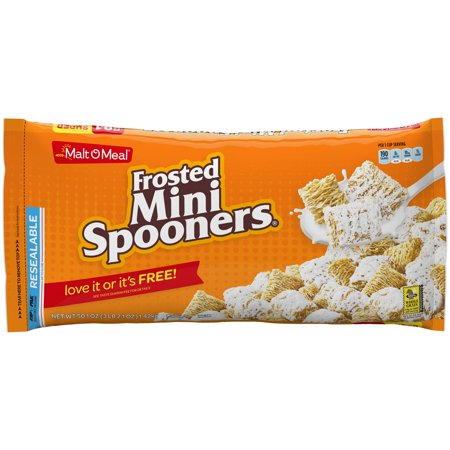 (2 Pack) Malt-O-Meal Breakfast Cereal, Frosted Mini Spooners, 50.1 Oz, Zip (Frosted Raspberry)