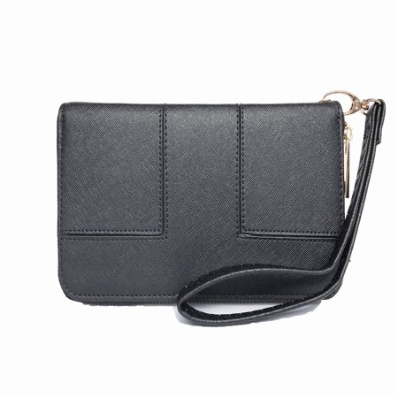 Ferrara Women Saffiano Leather Credit Card Wallets to Organize Your Cash,Card,and all your essentials with Removable Wristlet Strap,Zipper Clutch Purse