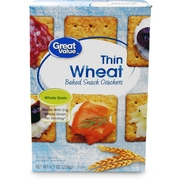 (4 Pack) Great Value Thin Wheat Baked Snack Crackers, 9.1 oz