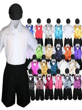 Black Boy Toddler Formal Vest Shorts Suit Satin Vest Bow Tie Hat 5PC Set sz S-4T