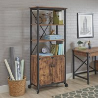 Better Homes and Gardens Rustic Country Library with Doors (Weathered Pine Finish )
