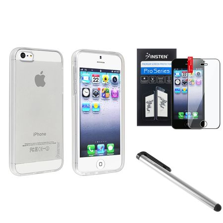 Insten Clear Bumper Jelly Gel TPU Rubber Skin Case Cover+Protector+Stylus Pen for iPhone SE 5S