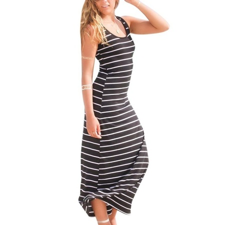 EFINNY Women's Sleeveless Maxi Dress Striped Summer Casual Beach Dress](Wednesday Addams Black Dress)