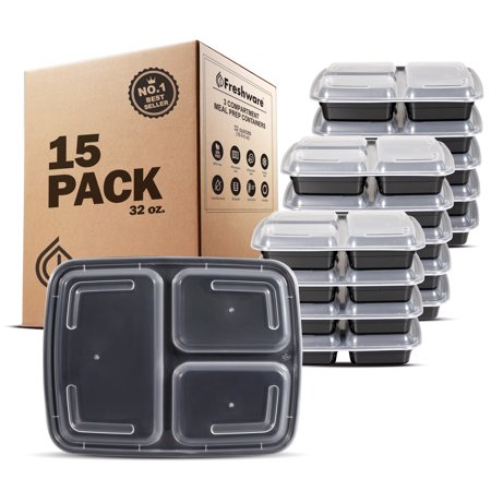 Freshware 15-Pack 3 Compartment Bento Lunch Boxes with Lids - Stackable Reusable Microwave Dishwasher & Freezer Safe - Meal Prep Portion Control 21 Day Fix & Food Storage Containers (32oz), (Lid Foam Container 3 Compartments)