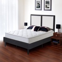 "GranRest 14"" Modern Metal Faux Leather Wood Slate Platform Bed, Full"
