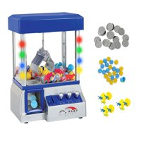 Claw Home Arcade Game Prize Grabber Carnival LED Lights Animation Adjustable Sounds and Bonus Toys-Blue