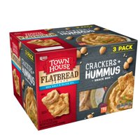 Town House Crackers + Hummus Snack Box, Sea Salt & Olive Oil Flatbread Crisps, 3 Ct