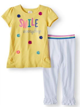 Peplum Top and Ruffle Legging, 2-Piece Outfit Set (Little Girls & Big Girls)