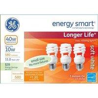 GE energy smart spiral CFL 10 watt (40 watt Equivalent) T2 spiral 3-pack
