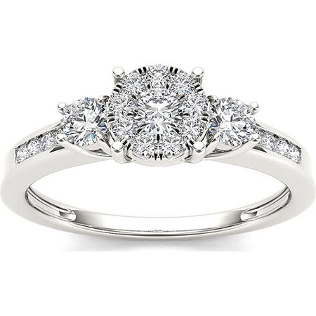3 Cluster Diamond Ring - 1/5 Carat T.W. Diamond Three Stone Cluster Engagement Ring in 10k White Gold