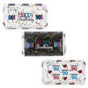 Happy 90th Birthday Party Decoration Stickers for Hershey's Miniatures Candy Bars (Set of 54)