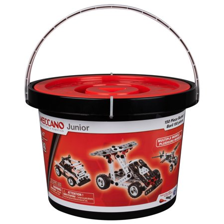 Meccano Junior, 150-Piece Bucket S.T.E.A.M. Building Kit with Real Tools, for Ages 5 and Up - Metal Erector Set