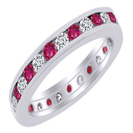 Simulated Ruby & White Natural Diamond Eternity Band Ring in 14k White Gold (0.33 Ct) Ring Size - 4