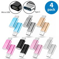 4x Afflux USB-C Adapter Connector USB Type C Male to Micro USB Female Adapter Charge Sync Converter For Samsung Galaxy S8 + Note 8 Nexus 5X 6P LG G5 G6 V20 HTC 10 Google Pixel XL OnePlus 3 5 Black