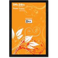 DAX Flat Face Wood Poster Frame, Clear Plastic Window, 24 x 36, Black Border