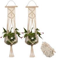 2-pack Macrame Plant Hanger Indoor Outdoor Hanging Planter Basket Jute Cotton Rope Braided Craft, 4 Legs 37 Inch