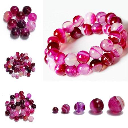DIY Women Natural Striped Agate Bracelet Gemstone Loose Spacer Beads Gift (Beaded Stripe Gift)