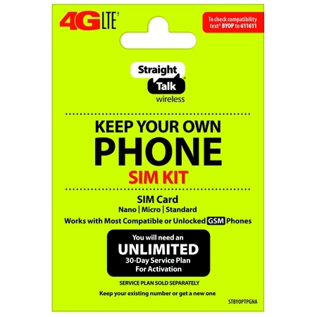 Straight Talk Keep Your Own Phone SIM Card Kit - T-Mobile GSM Compatible
