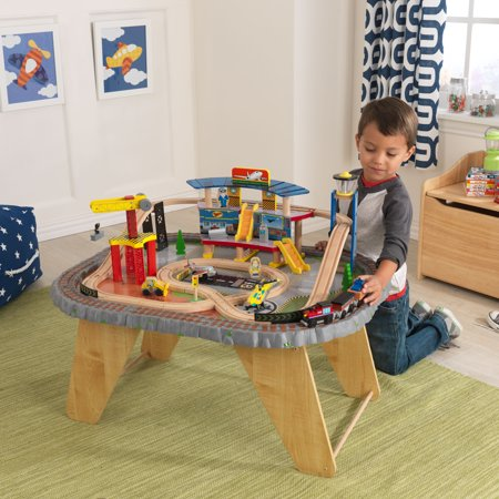 KidKraft 58-Piece Transportation Station Wooden Train Set and Table, Working Crane and Magnetic Train (Folding Shop Crane)