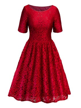 Lace Dresses for Women Vintage Floral Evening Rockabilly Cocktail Skater Party Prom Ball Gown Summer Short Sleeve Dress