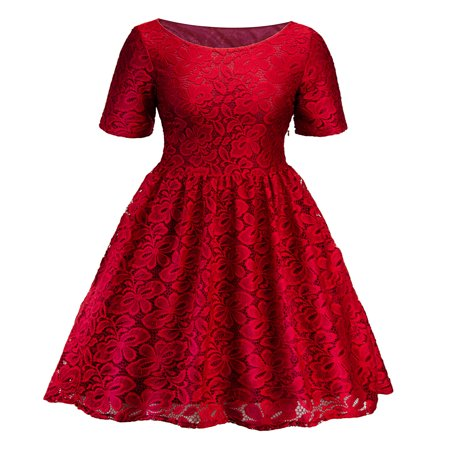 Floral Cocktail Party Dress - Lace Dresses for Women Vintage Floral Evening Rockabilly Cocktail Skater Party Prom Ball Gown Summer Short Sleeve Dress