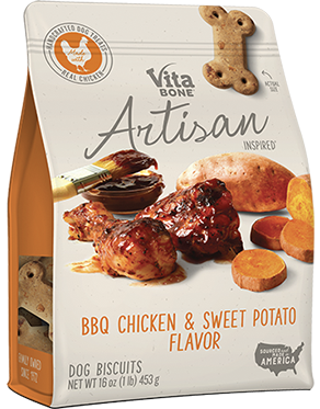 Vita Bone Artisan Inspired BBQ Chicken & Sweet Potato Flavor Biscuit Buddy Biscuits Sweet Potato