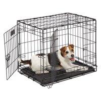 """MidWest 24"""" Double Door iCrate Metal Dog Crate, Black"""