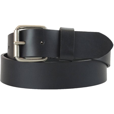 1-1/2 in. US Steer Hide Harness Leather Men's Belt w/ Antq. Nickel Roller (Patent Leather Covered Buckle Belt)