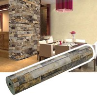 Wallpaper Roll 3D Effect Natural Embossed Stack Stone Brick Wall Paper